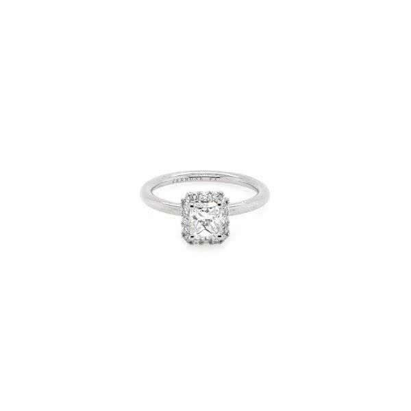 Platinum 0.67ct F SI1 radiant diamond ring