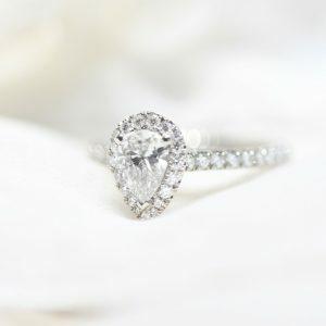 Platinum 0.61ct G VS2 pear shaped Argyle diamond ring