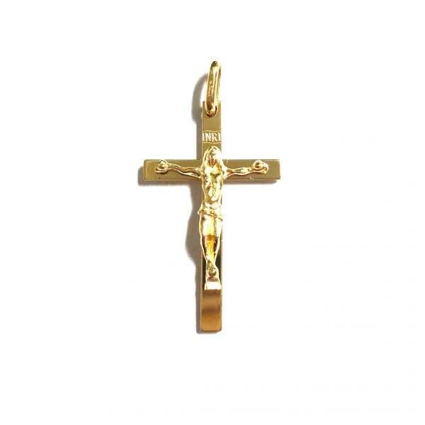 18ct yellow gold cross crucifix pendant