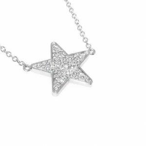 18ct white gold diamond star necklace