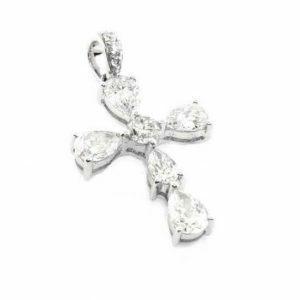 18ct white gold pear & round diamond cross