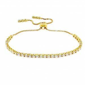 18ct yellow gold adjustable diamond tennis bracelet