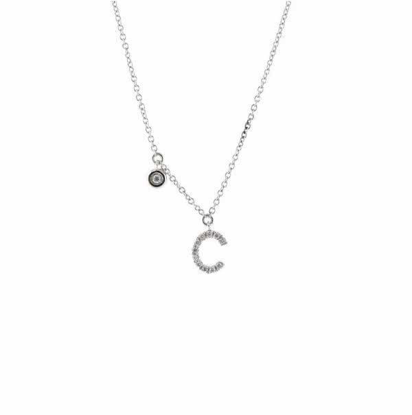 "18ct white gold diamond inital ""C"" necklace"
