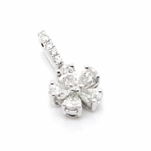 18ct white gold diamond pear shape flower style pendant