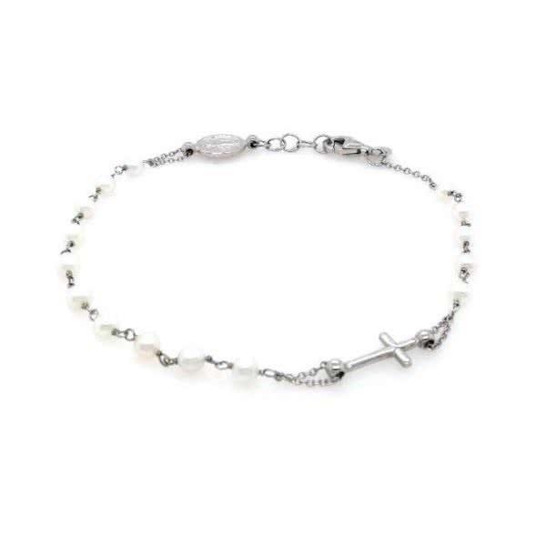 18ct white gold pearl rosary bracelet
