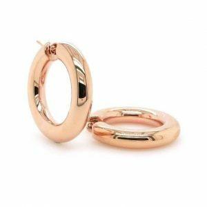 18ct rose gold thick hoop earrings