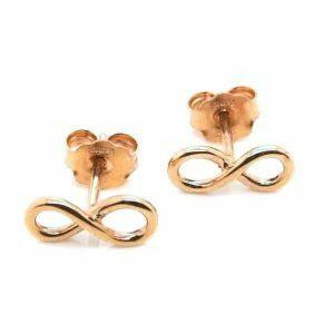 18ct rose gold mini infinity stud earrings
