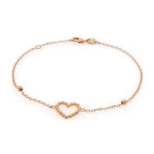 18ct rose gold heart shape bracelet