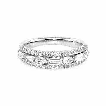18ct white gold pear , baguette & round brilliant cut diamonds ring