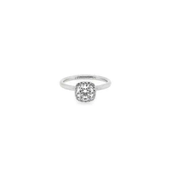 Platinum 0.70ct G SI2 round brilliant cut diamond ring