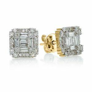 18ct yellow gold baguette & round brilliant cut diamond stud earrings
