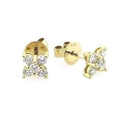 18ct yellow gold diamond flower stud earrings