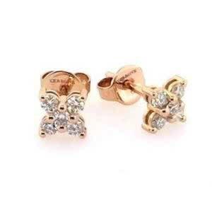 18ct rose gold diamond flower stud earrings
