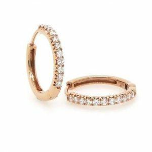 18ct rose gold diamond hoop earrings