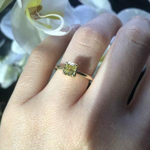 18ct yellow gold asscher cut diamond ring