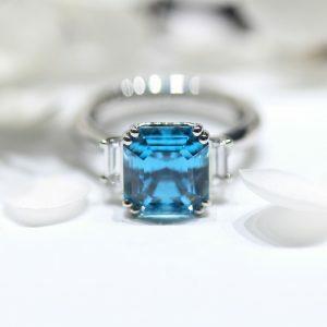Platinum 7.38ct square emerald cut blue zircon and diamond ring