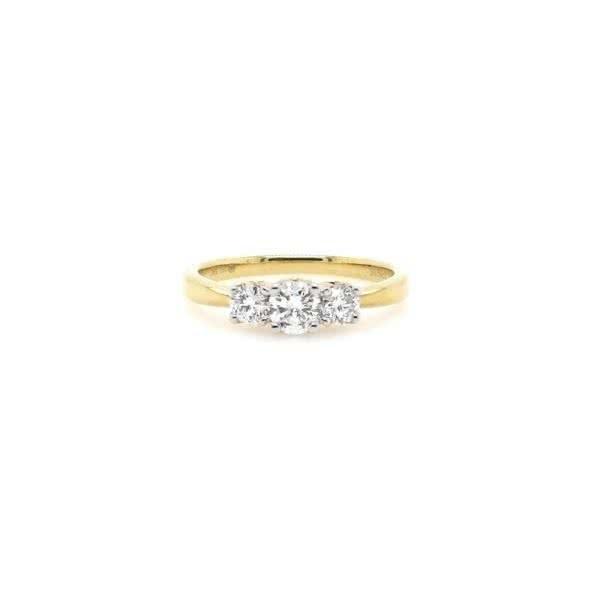 18ct yellow gold round three stone diamond ring