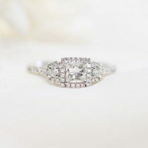 18ct white gold 0.46ct princess cut diamond ring