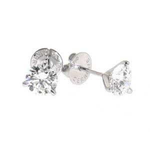 18ct white gold 2=0.50ct diamond three claw stud earrings