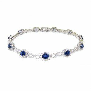 18ct white gold blue sapphire & diamond bracelet