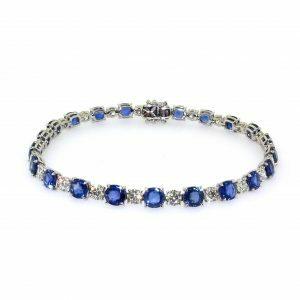 18ct white gold round blue sapphire & diamond bracelet