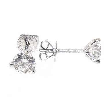 18ct white gold 2=0.80ct diamond three claw stud earrings