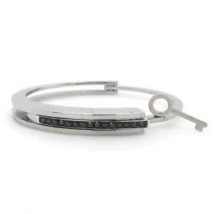 Stainless steel hinged lock & key mens bangle