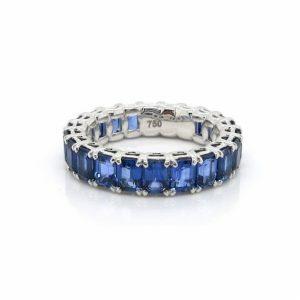 18ct white gold emerald cut blue sapphires full circle band