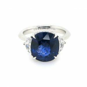 18ct white gold 7.05ct cushion cut Ceylon sapphire & diamond ring