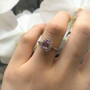 18ct white gold 0.59ct pear shape pink morganite & diamond ring