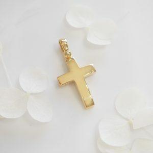 18ct yellow gold plain cross pendant