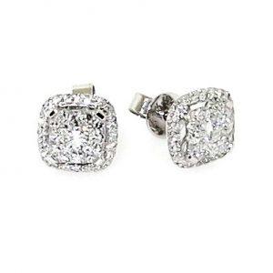 18ct white gold diamond cushion shape cluster earrings