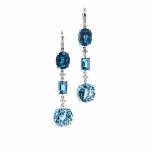 18ct white gold topaz and diamond hook earrings