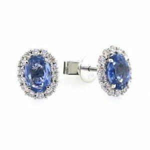 18ct white gold oval blue sapphire & diamond halo stud earrings