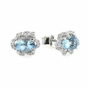 18ct white gold oval aqua & diamond stud earrings