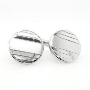 Rhodium plated metal polished and matt finish round cufflinks
