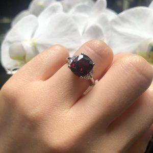 Platinum 5.25ct cushion rhodolite garnet and diamond ring