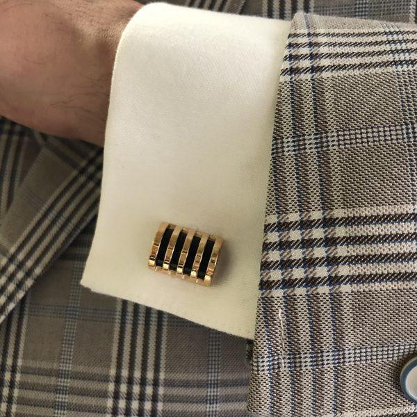 Rose gold plated black enamel cufflinks