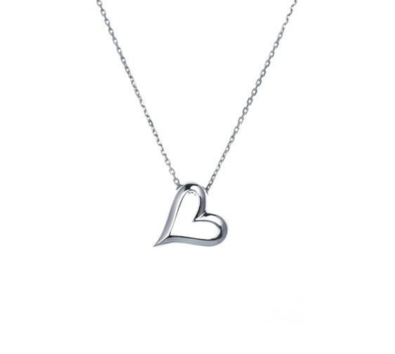 Silver Un Bacio Open Heart Necklace