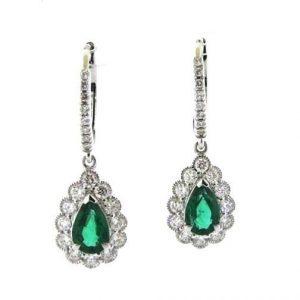 18ct white gold pear shape emerald & diamond drop earrings