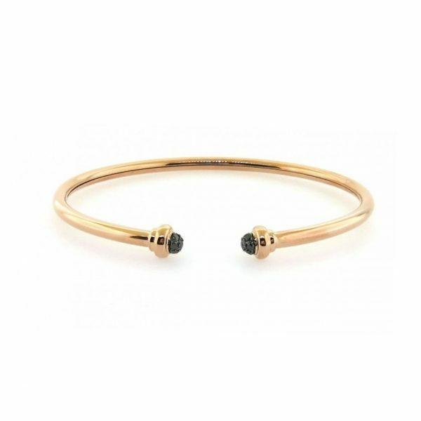 18ct rose gold black diamond set on ends of open bangle