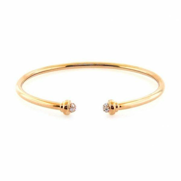 18ct rose gold diamond open bangle