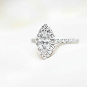 18ct white gold 0.71ct marquise diamond ring