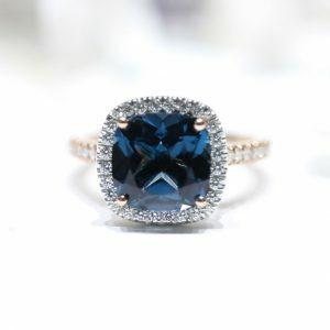 18ct rose and white gold 4.46ct cushion London blue topaz & diamond ring