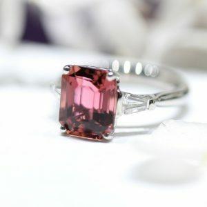 Platinum 4.42ct emerald cut pink tourmaline and diamond ring