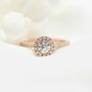 18ct rose gold 0.46ct round diamond ring