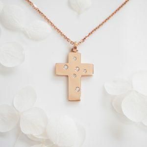 18ct Rose Gold Diamond Cross Pendant