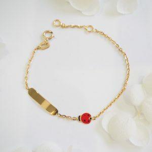 18ct yellow gold lady bird ID baby bracelet.