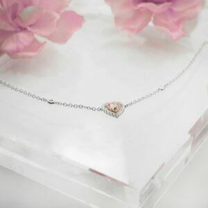 18ct white & rose gold pink & white diamond heart bracelet