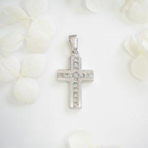 18ct white gold diamond cross pendant